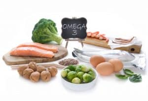 Collection of foods high in fatty acids omega 3 to improve circulation